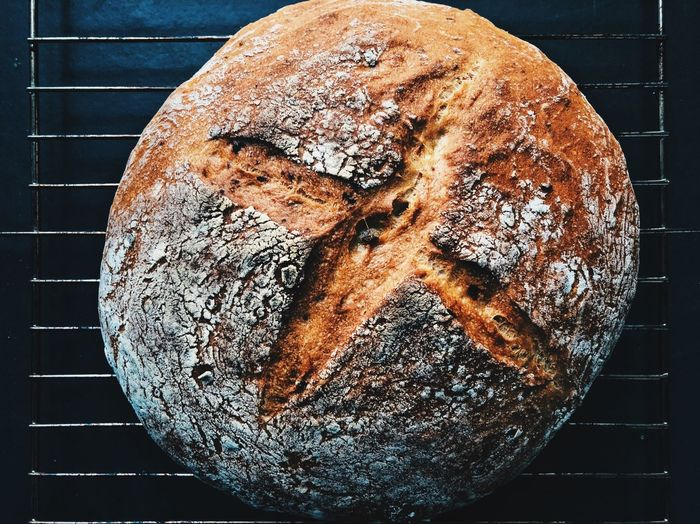 Spelt potato sourdough bread Food And Drink Food Bread Close-up Indoors  Freshness No People Wellbeing Still Life Baked Healthy Eating Brown Loaf Of Bread Ready-to-eat Directly Above Single Object Day High Angle View Metal Dieting Sourdough Speltbread Flour