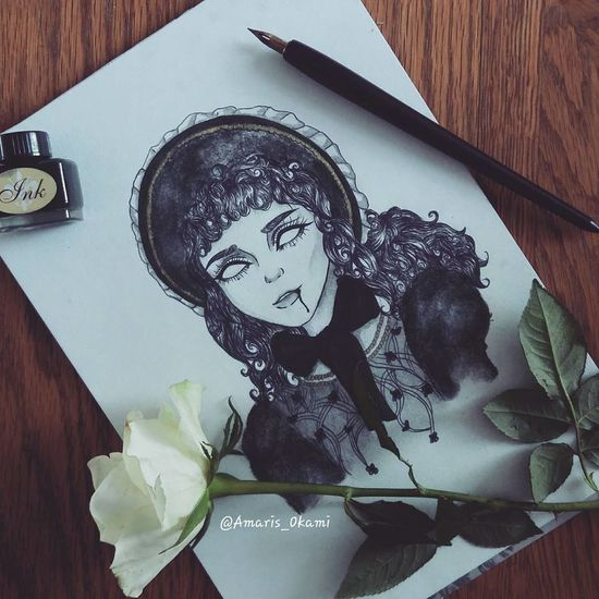 ' Claudia ' from Interview with the Vampire ♡ ● Claudia Vampire Interview With The Vampire Anne Rice Artegotico Gothicart Gothic Dibujo Darkart Gothic Style Art Arte Drawing Gotica Ink