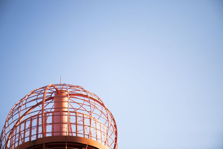 A Prison In The Sky Circle Clear Sky Blue Sky Bowl Cage Jungle Gym No People Nostalgic  Outsite Red Color Space Ship