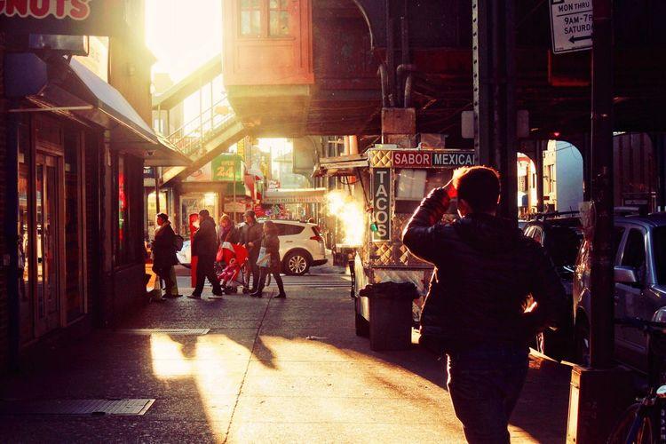 - ʙʟᴏᴄᴋ NYC New York New York City Snapshot Blurred Motion Street City Real People People Sunset 写真 人間観察 Illuminated Outdoors Pedestrian Walkway Light And Shadow Light Vendor Foodcart Railway Station Man Family Tacos