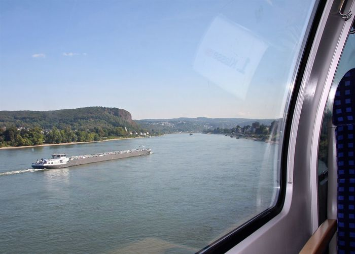 Beautiful Nature Blue Boat Cargo Ship Germany Glass - Material Journey Landscape Mode Of Transport Nautical Vessel Rhine River Scenics Ship Sky The Way Forward Train Transparent Transportation Travel Water Window Seat TakeoverContrast Take Your Place