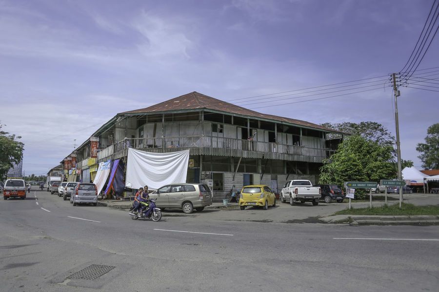 Wooden Shop House Blue Sky Borneo HDR Kinarut Old Shoes Sabah Small Town