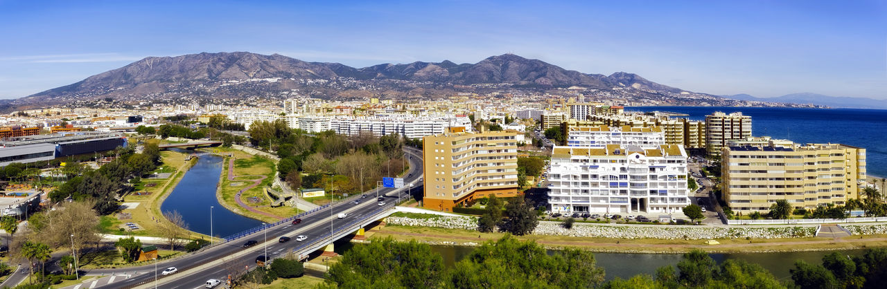 Panoramic view over the Fuengirola city, province of Málaga, Andalusia region, Spain. Automobile Bioparc FUENGIROLA  Fuengirola Spain Hills Hotels Malaga Mediterranean  Málaga,España Panorama Panoramic SPAIN Atraction Highway Hotels And Resorts River Sea Sea And Sky Zoo Park