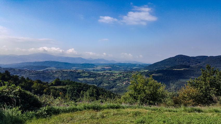 Bergaussicht '01 Felder Bäume Tannenwald Tannen Ferne Serbia Serbien Berge Wandern Aussicht Ausblick Ausblick Aufs Land Himmel Himmel Und Wolken Grün Blau Tree Mountain Blue Sky Mountain Range Landscape Mountain Peak