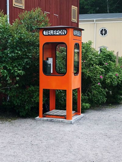 Old Linköping Vintge Orange Color Telephone Box Retro Sweden Communication Plant Telephone Architecture No People Built Structure Day Telephone Booth Building Exterior Outdoors