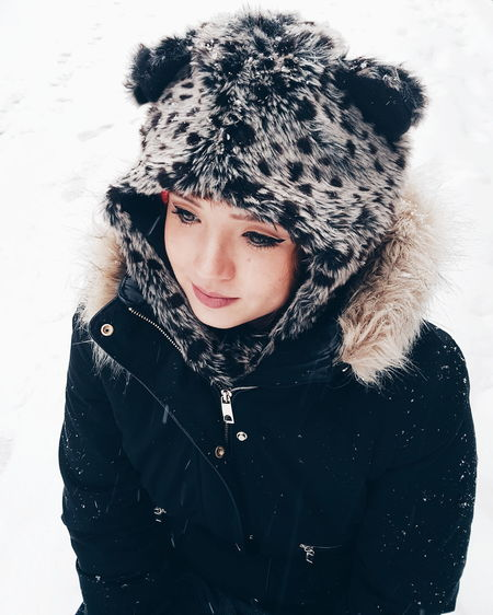 like a child seeing snow Dublin Ireland Snow Fascinating Bear Fashion Warm Clothing Portrait Cold Temperature Winter Looking At Camera Girls Human Face Headshot Snowflake Fashion Model Snowing Coat