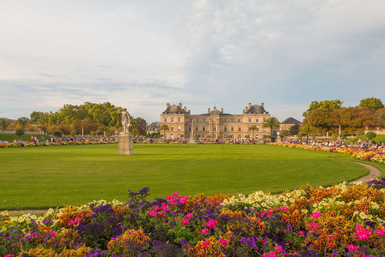 Luxembourg Palace in Paris Luxembourg Palace Paris Jardin Du Luxembourg Luxembourg Plant Architecture Built Structure Building Exterior Flower Flowering Plant Sky Nature Grass History Day Cloud - Sky The Past Travel Destinations Beauty In Nature Growth Travel Tourism Building Tree Outdoors No People
