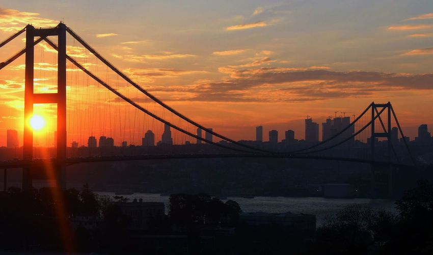 Bosphorus bridge over sea against sky during sunset in city