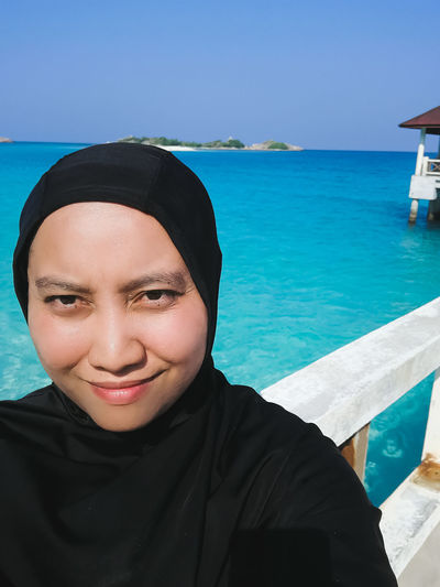 Pulau Redang, Malaysia. Water Sea One Person Leisure Activity Real People Lifestyles Portrait Front View Sky Blue Young Adult Nature Beach Smiling Land Headshot Day Looking At Camera Swimming Pool Horizon Over Water Outdoors Turquoise Colored Ocean Snorkeling Malaysia Jetty Travel Destinations Tropical Island Turquoise Water Beautiful Nature