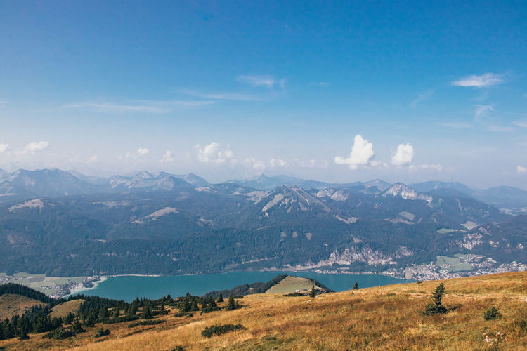 Wonderful views of the austrian countryside from the schafber g mountain to the rest of the alps