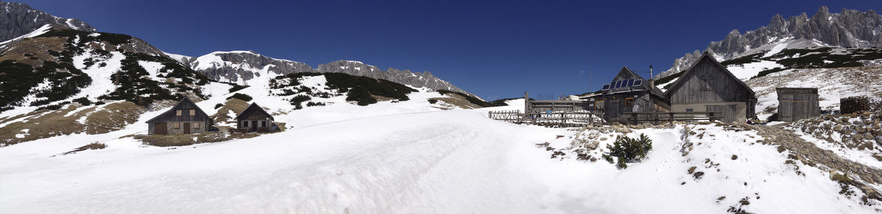 Panoramic view of snow covered landscape against clear sky