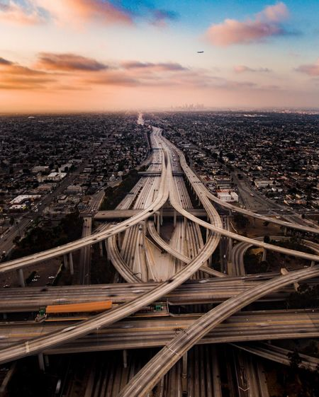 Long Exposure Transportation City On The Move Sunset Sky Outdoors The Way Forward Multiple Lane Highway Aerial View Scenics Cloud - Sky Nature Day Horizon Over Land Horizon City Life No People Diminishing Perspective interchange, California