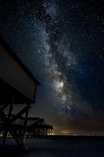 Milchstraße in Sankt Peter Ording Night Star - Space Astronomy Space Sky Galaxy Scenics - Nature Water Beauty In Nature Star Field Star Nature Science No People Space And Astronomy Constellation Milky Way Outdoors Tranquility