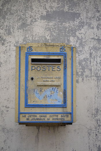 Blue Dieppe France LaPoste No People On The Wall Outdoors Post Box  Yellow Yellow And Blue First Eyeem Photo