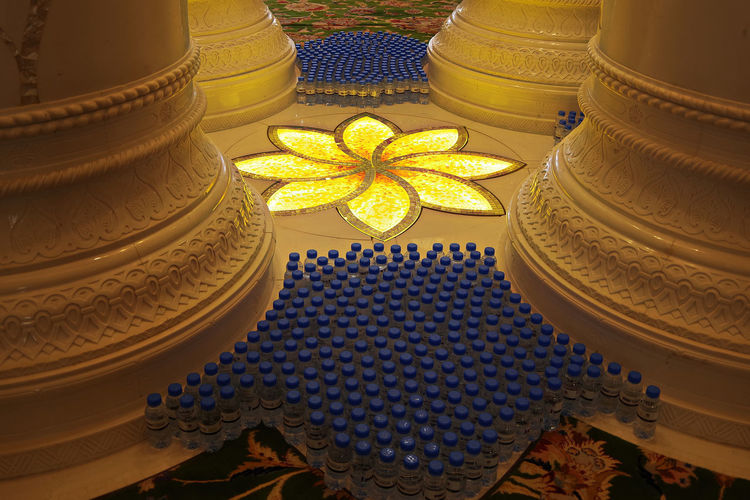 Abu Dhabi The Traveler - 2018 EyeEm Awards Architecture Art And Craft Blue Building Built Structure Close-up Creativity Decoration Design Floral Pattern Gold Colored High Angle View Indoors  No People Ornate Pattern Shape Sheik Zayed Mosque Star Shape Still Life