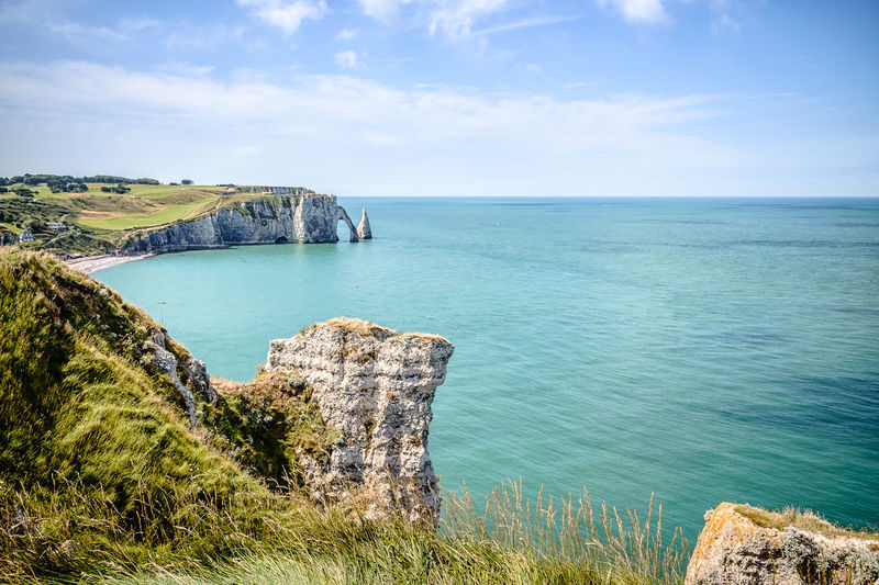 High Angle View Of Cliff By Sea At Etretat