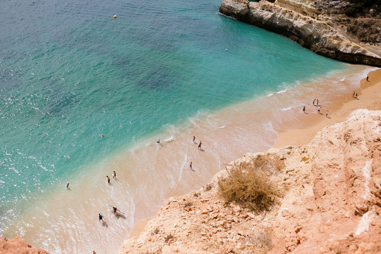 High angle view of beach on the algarve in portugal