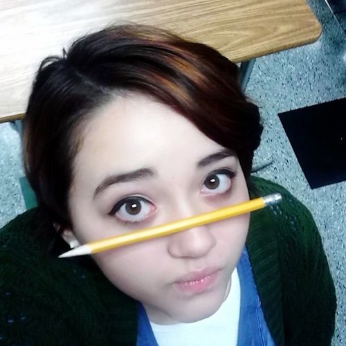 Was bored in Japanese. . .found out I have a talent for balancing pencils on my nose. Bored Japaneseclass School Schoolneedstoened