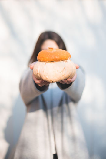 Autumn Mood Holding Food One Person Food And Drink Hand Human Hand Freshness Focus On Foreground Human Body Part Midsection Sweet Food Indulgence Day Showing Sweet Standing Ready-to-eat Front View Close-up Temptation Snack