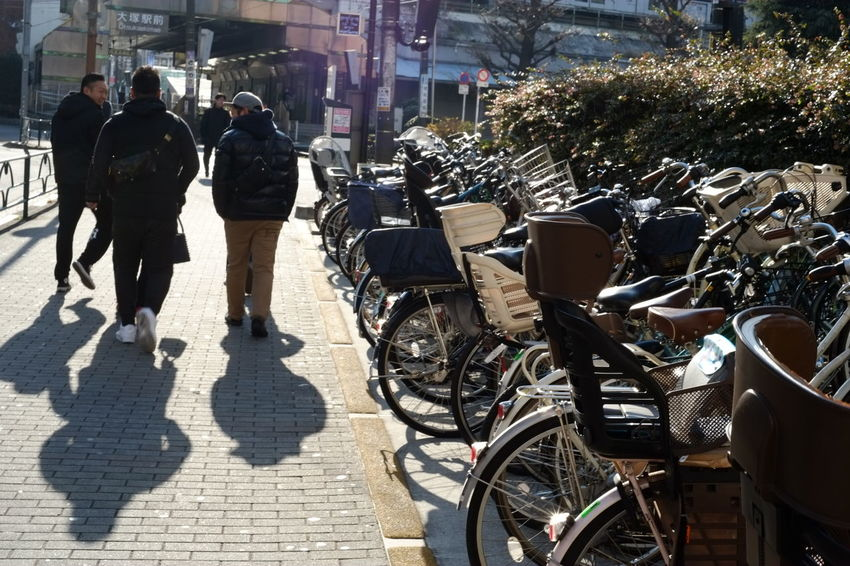 Bicycles City Japan Photography Land Of Bicycle Real People Shadow Travel Vacations Sunlight Through My Lens Travel Photography Otsuka Street