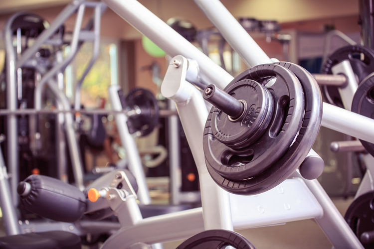 Close-up of exercise equipment in gym