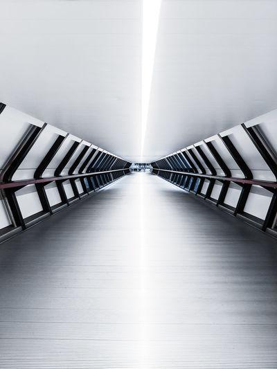 Empty illuminated walkway