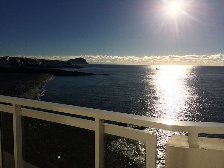 Tenerife Water Sea Sky Sunlight Scenics - Nature Nature Sun Beauty In Nature Tranquility Reflection Horizon No People Horizon Over Water Tranquil Scene Outdoors Sunny Railing Lens Flare Transportation
