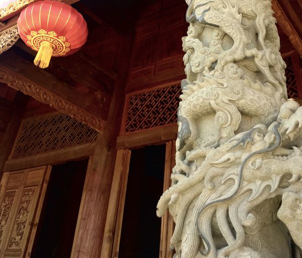 Dragon Sculpture Building Exterior Architecture Chinese Architecture Lattern