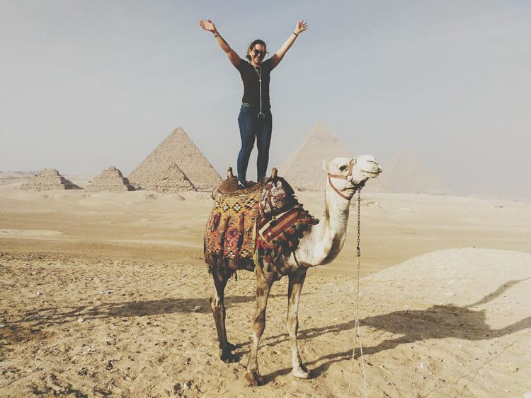 Camel Egypt Egyptphotography Travelegypt Sanddunes One Woman Only Happy Desert Sand Full Length Standing Arms Raised One Person Outdoors Transportation Riding Pyramid Adult Arid Climate Sky Love Yourself