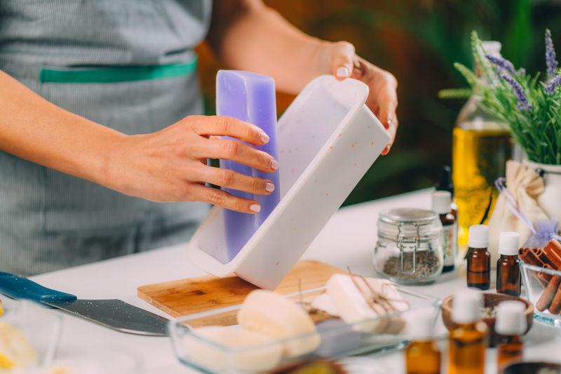 Soap making process.