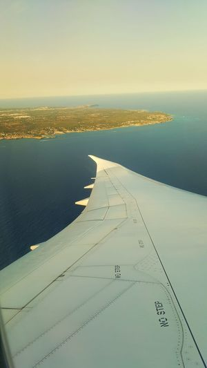 Another bit of wing No People Travel Destinations Tranquility Scenics Landscape Day Vacations Horizon Horizon Over Water Water Sky Looking From Above Looking Down Birds Eye View Baleric Islands Menorca Airplane Flying Plane Wing Plane Baleric Sea Sea