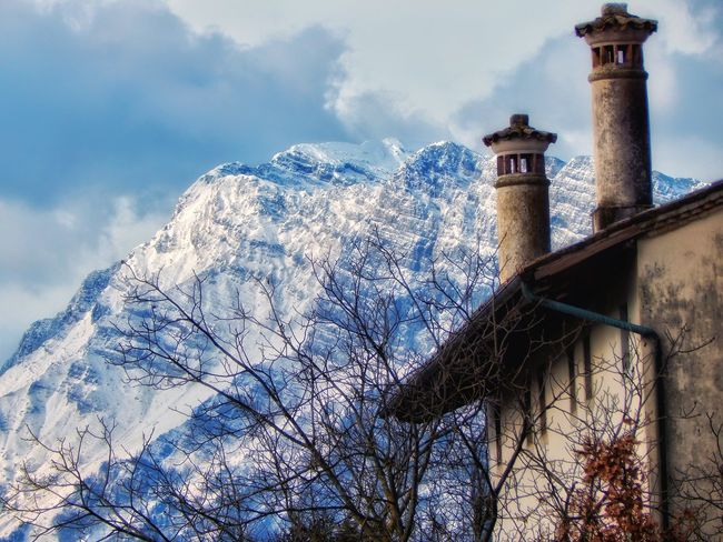 Old chimneys & Raut's mountain Eyemnaturelover Nature Chimneys Sky Mountains Ice Mountain Trees And Sky Rural Scene Eyemphotography Sunlight Backgrounds Old Architecture Oldtime