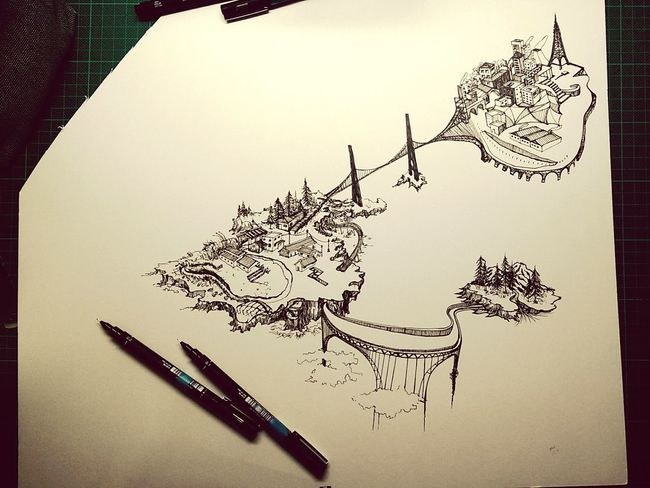 Relaxing Sketch Ocean River Mountains Forest Bridges 艸木森森 Architecture City