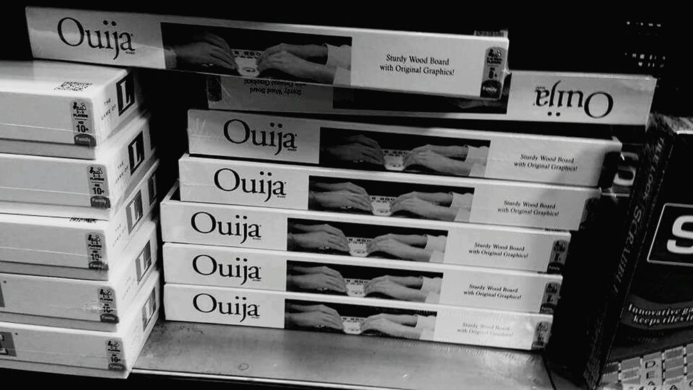 Ouija Board  Bookstore Pandora's Box Black And White. They are flying off the shelf!! haha