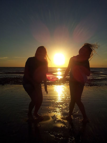 Justanotherbeachpic Sunset_collection Sunset Silhouettes Beautiful Fun Unbalanced  Little Sis 43 Golden Moments Colour Of Life People And Places Seaside Sunset Time Fundays My EyeEm Collection