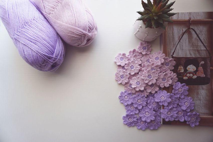 Crochet Flowers Yarn Craft Handmade Catus Flower White Background Purple Close-up Softness Crochet Sewing Item Sewing Lavender Colored Needlecraft Product