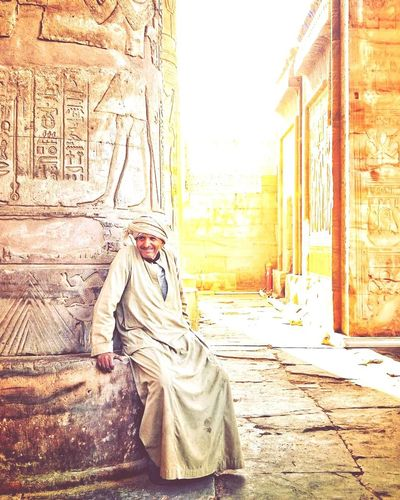 History Adult Architecture Travel Destinations City Ancient Adults Only People Old Ruin Built Structure Men One Person One Man Only Outdoors Building Exterior Day Only Men Young Adult Multi Colored Full Length Komombo Temple Photographing This Is Egypt ❤ Arts Culture And Entertainment Egyptdailylife