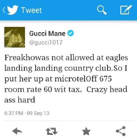 Lmao...wtf do gucci mane be tweetin about. This makes NO sense! ?? Guccimane  Tweeting Twitter WTF smdh lmao stupid hilarious tag4tags like4likes goodmorning tweegram