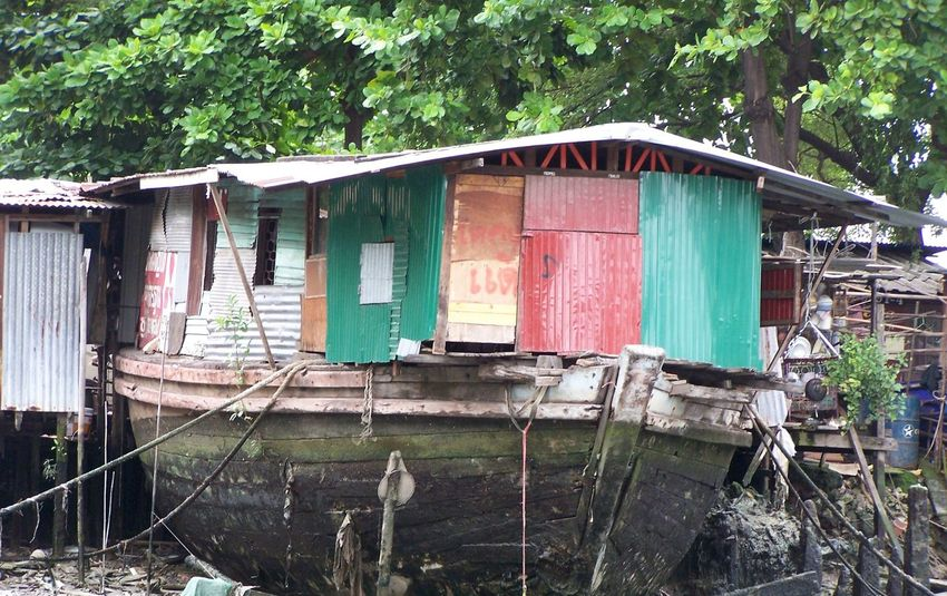 """House/Boat"" Architecture Boat House Built Structure Float Home Houseboat No People Old River River View Thai Bangkok"