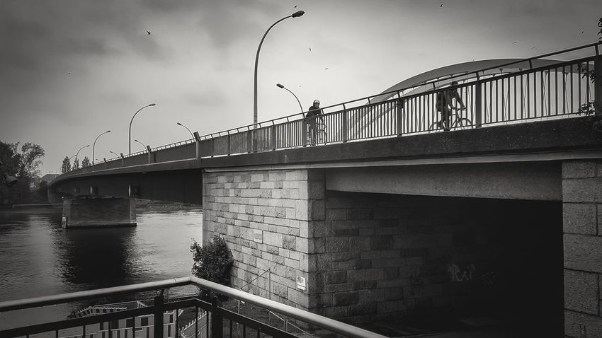 Monochrome Photography Architecture Bridge - Man Made Structure Built Structure Connection Water Street Light Railing River Bridge Sky City Engineering Footbridge Riverbank Cloud - Sky City Life Samsung Galaxy Note 4 Outdoors Taking Photos Landscape_photography Rhine Rhine River Germany Black And White
