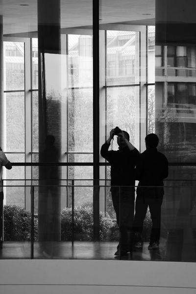 B&w B&w Photography Built Structure Indoors  Modern Modern Architecture Munich People Taking Photos Person Pinakothek Reflection Silhouette People And Places Blackandwhite Black And White