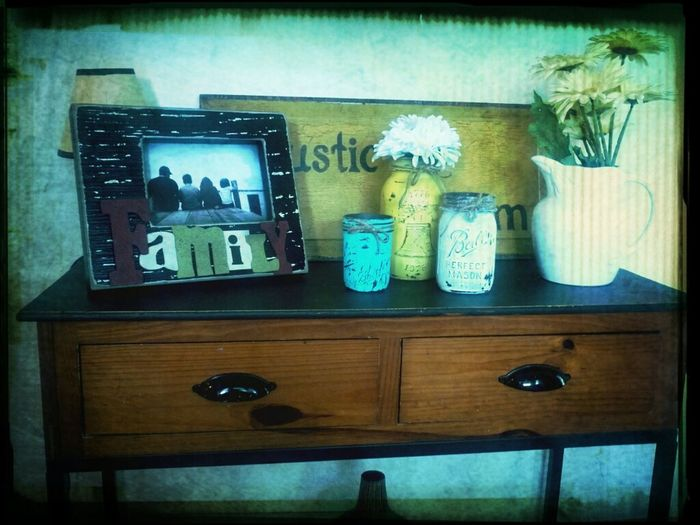 Entry way table with my rustic mason jars......I love crafting and decorating:-)