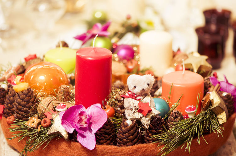 Christmas Decoration Bunch Of Flowers Burning Candle Celebration Celebration Event Christmas Christmas Decoration Christmas Ornament Close-up Cultures Decor Decorated Decoration Flame Flower Freshness Indoors  Large Group Of Objects Life Events Petal Pink Color Religion Religious Celebration Selective Focus Tradition