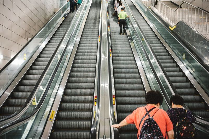 Who's going up? Escalator Transportation Seoul Metro Steps Indoors  High Angle View Technology Convenience Real People Adults Only Railing Rear View Adult Steps And Staircases Staircase Walking Modern Futuristic Subway Station Seoul South Korea Korea Asian Culture Transfer Public Transportation