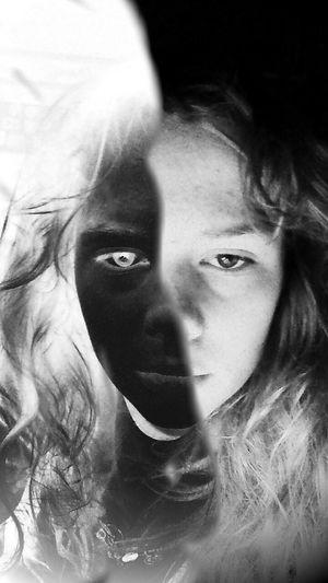 Blackandwhite Surrealism Clown Negative Tired Sleep Girl Yin & Yang Surreal Parted