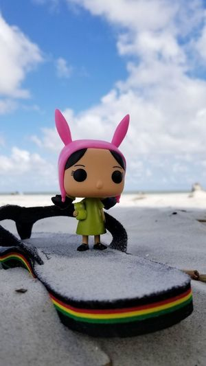 Louise Louise Belcher Bob's Burgers Bobsburgers Bunny Ears  Beach Fox Pink Hat Figurine  Sky Close-up Cloud - Sky