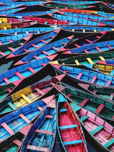 Full frame shot of boats moored at harbor