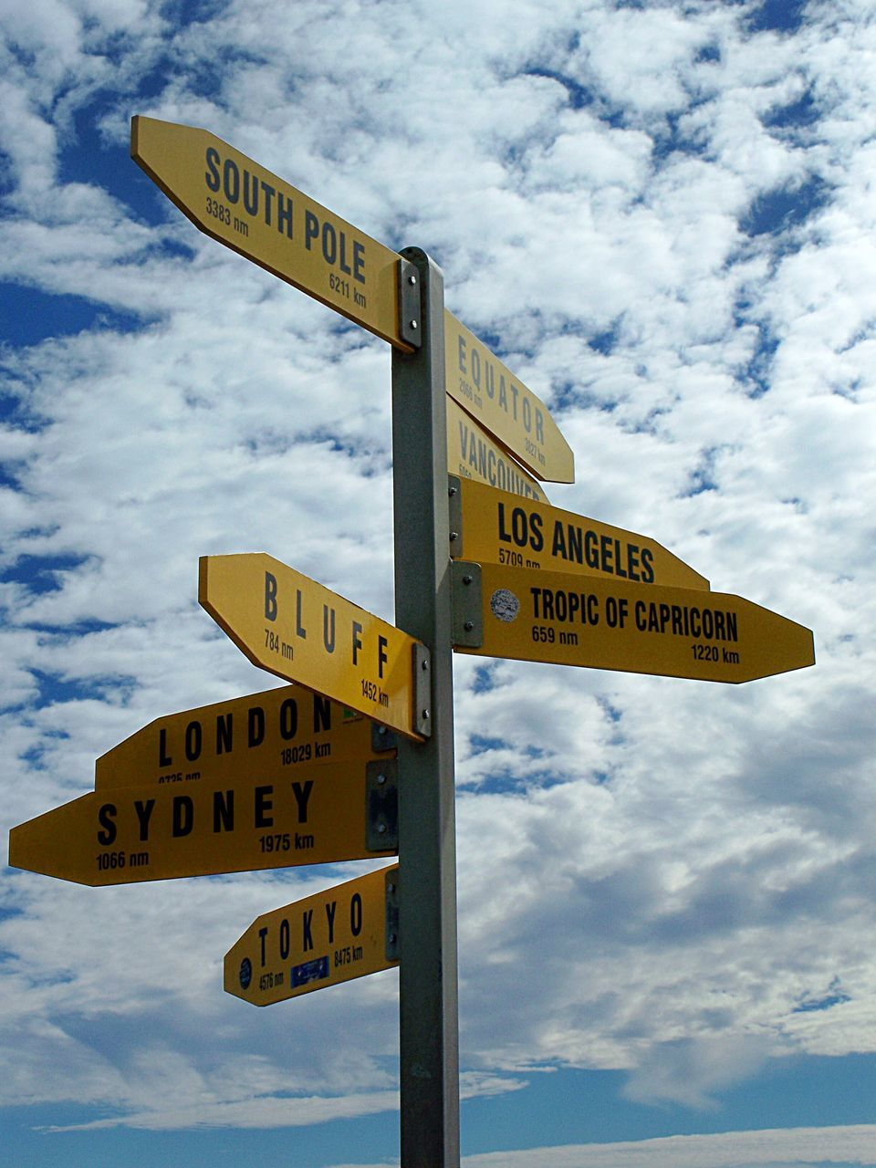 text, western script, communication, sky, cloud - sky, cloud, guidance, one way, day, direction, road sign, low angle view, outdoors, no people, street name sign, yellow, close-up
