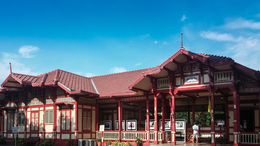 Hua hin railway station is one of beautiful landmark in retro styles. Station building design in classic style. Architecture Beautiful Building Exterior Built Structure Classic Day Decoration Design Holiday Landmark Memorial Old Outdoor Popular Retro Retro Style Roof Roof Tile Rooftop Station Style Summer Train Travel Vocation