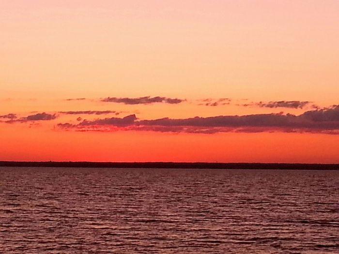 One July Day Sunset Orange Sky Horizon Hues Seascape Enjoying Life New York